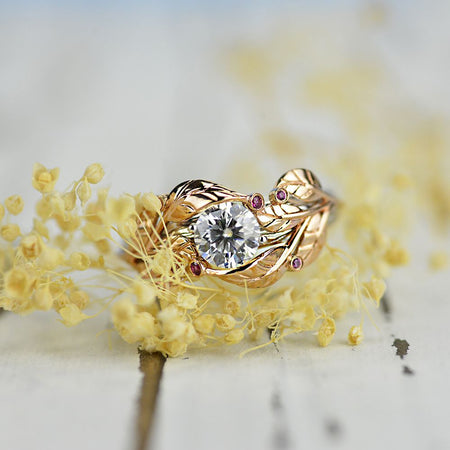 1.0 Carat Honey Passion Topaz Diamond Engagement Ring I 14K  Rose and White Gold-6 Genuine Diamond Accents