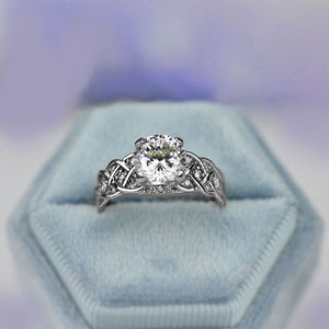 2.0 Carat  Moissanite Diamond Engagement White Gold Ring