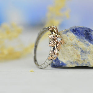 Diamond Floral Gold Ring