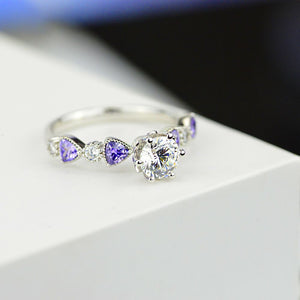 1.0 Carat Forever One Moissanite and Amethyst Gold Promissory Ring