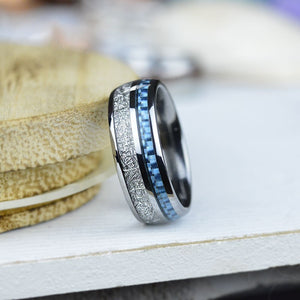 Meteorite and Carbon Fiber Tungsten Men's Rings