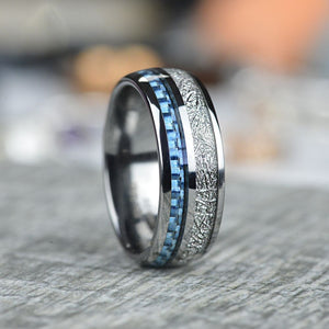 Meteorite and Carbon Fiber Tungsten Carbide Rings