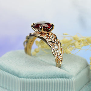 Red Ruby Giliarto Gold Engagement Ring