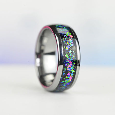 Galaxy Blue Green Purple Pink Opal Tungsten Carbide  Ring