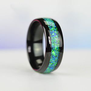 Genuine Blue Green Opal  Black Tungsten Carbide  Ring