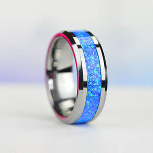 Genuine Blue Opal Tungsten Carbide  Ring