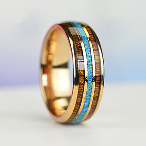 Hawaiian Koa Wood and Abalone Shell Opal Inlay Rose Gold Plated Tungsten Carbide Rings