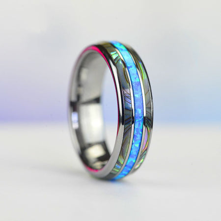 Genuine Australian Blue Fire Opal with Abalone Shell Tungsten Ring