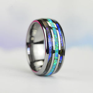 BLUE OPAL:  Center blue opal inlay, makes the ring brilliant and beautiful. ABALONE SHELL:  Abalone