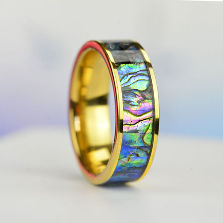 Abalone Shell  Inlay  Gold Plated Tungsten Carbide Rings