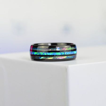 Natural Abalone Shell Blue Opal Men's Black Tungsten Carbide  Ring