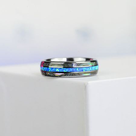 Genuine Australian Blue Fire Opal with Abalone Shell Tungsten Ring For Her