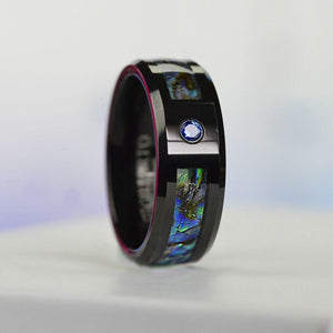Genuine Abalone Shell with Sapphire Men's Tungsten Carbide  Ring