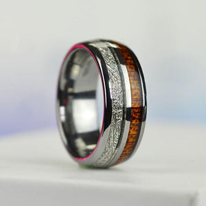 Meteorite and Koa Wood Tungsten Carbide Ring