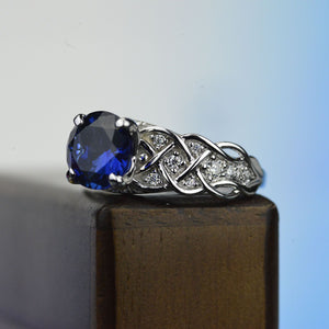 Blue Sapphire Gold Giliarto 14K White Gold Engagement Ring