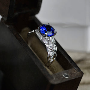 2 Carat Blue Sapphire Gold Giliarto Engagement Ring