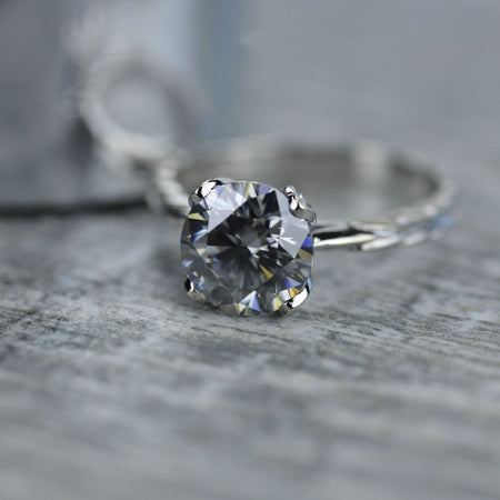 2 Carat Dark Gray Blue Moissanite  Engagement Ring