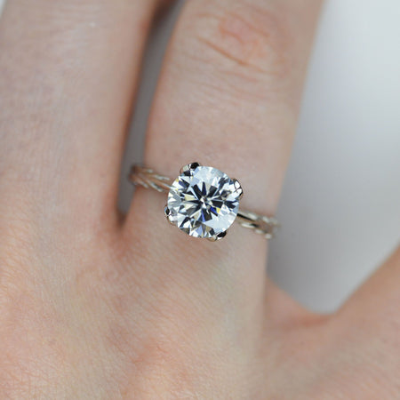 2 Carat Gray Moissanite Leaf Floral Promissory Ring