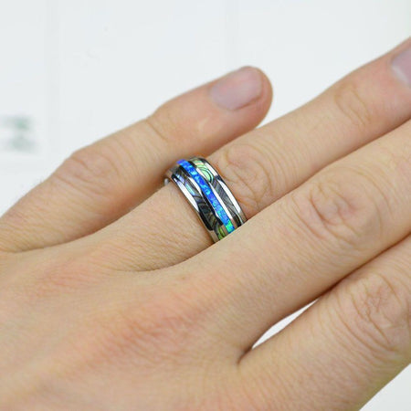 Genuine Australian Blue Fire Opal with Abalone Shell Tungsten Ring For Him For Her