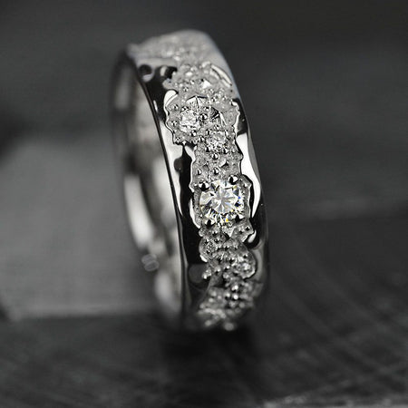 14K White Gold  Ring mens natural diamond ring