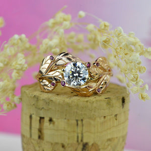 Floral Moissanite Engagement Ring 14K  Rose and White Gold-6 Genuine Ruby Accents