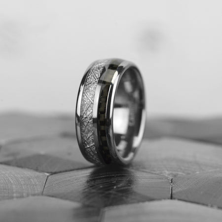 Meteorite with Gray Carbon Fiber Tungsten Carbide Ring