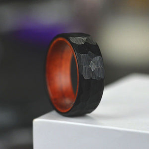 Hammered Black  Tungsten Ring with Inner Solid Oak Wood,