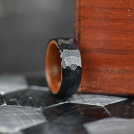 Hammered Black  Tungsten Ring with Inner Solid Oak Wood