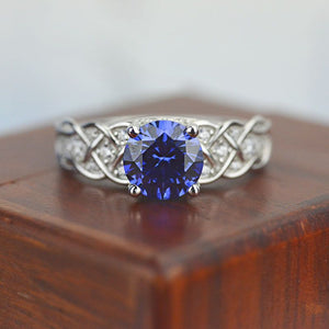 Blue Sapphire Giliarto Lattice Gold Engagement Ring