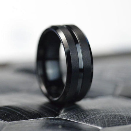 Classic Men Black Stainless Steel 8mm Polished Matte Brushed Finish Center Wedding Band Ring