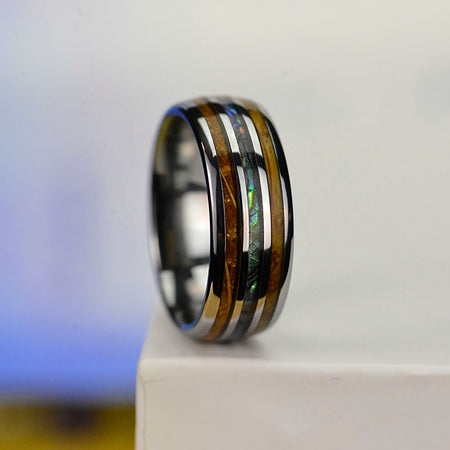 Abalone & Whiskey Barrel Wood Ring Mens Wedding Band Tungsten Ring
