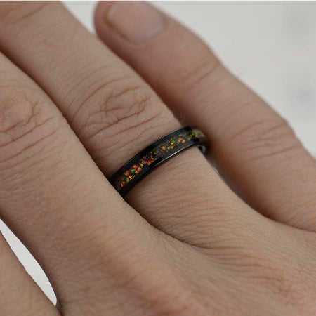 Opal Tungsten Carbide Ring