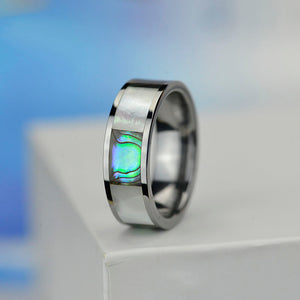 Genuine Abalone Shell and White Shell Men's Tungsten Carbide Ring