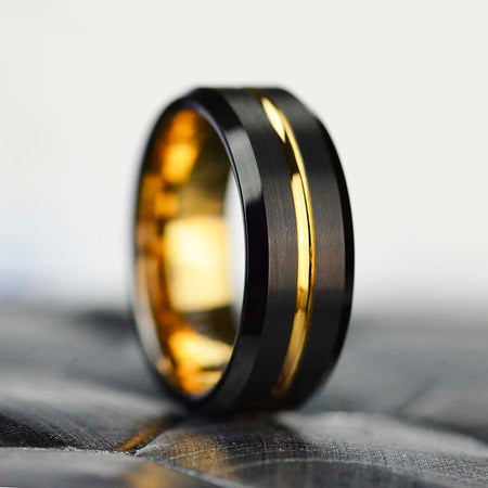 Brushed jet black tungsten band, brilliant 14K gold plating, polished beveled edges, gold center groove, and comfort fit sizing  Comes with Free GIFT!   MADE IN USA.  GILIARTO BRANDED DESIGN- ALL RIGHT RESERVED.  Please note, this is a genuine Abalone Shell ring, and has a higher cost than similar copy rings with paper print on Amazon and eBay.  Usually this ring gets delivered in up to 3 days in USA.