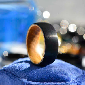 Brushed Black Tungsten Ring with Inner Solid Whiskey Barrel Oak Wood