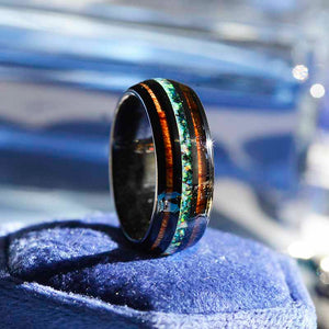 Natural Fire Opal Tungsten Wedding Ring with Hawaii Koa Wood