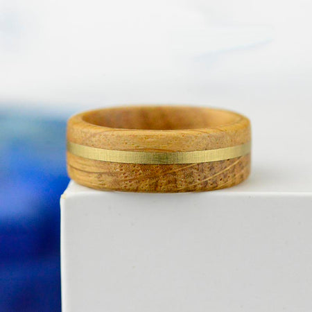 Real Whisky Barrel Wood with copper strip, handmade . Perfect for weddings, graduations, birthdays and other holidays. 8mm wide with high polished comfort fit inner face.