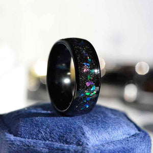 Giliarto Galaxy Genuine Crushed Abalone Shell Men's Tungsten Ring with Crushed Opal and Sea Shell.