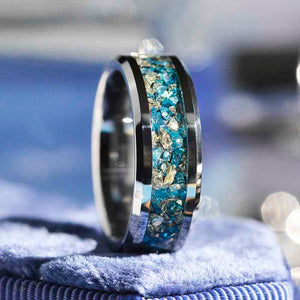 Genuine Crushed Raw Blue and White Sapphire Men's Tungsten Ring