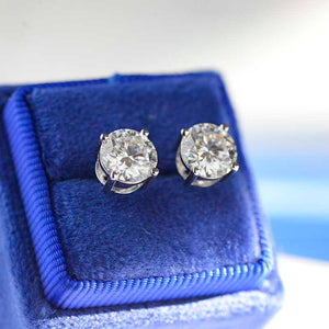 Moissanite Stud Earrings 14K Gold