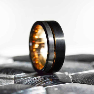 Tungsten Ring Black and Silver Brushed with Yellow Gold Accent, Mens Ring, Mens Wedding Band, Dual color Mens band, Birthday Gift