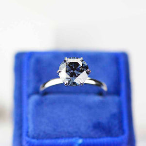 Giliarto 3 Carat Grey Gray Moissanite Stone 14K White Six Prong  Promissory  Gold Ring