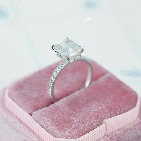2 Carat Moissanite Diamond Emerald Cut Halo White Gold Engagement  Ring