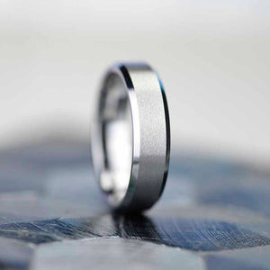 6mm Polished Matte Brushed Finish Tungsten Carbide  Wedding Band Ring