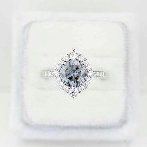 2 Carat Round Grey Gray Giliarto Moissanite Halo Gold Engagement Ring