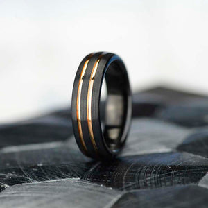 Black and Yellow Gold Color Tungsten Band