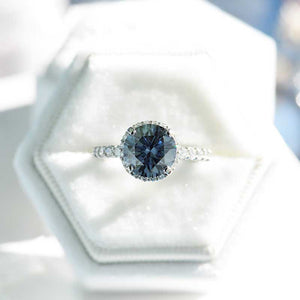 3 Carat Round Dark Grey Gray Blue Giliarto Moissanite Halo Gold Engagement Ring
