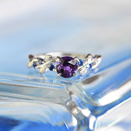7mm Round Amethyst Sapphire  Floral  White Gold Engagement  Ring