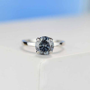 2 Carat Dark Gray Blue Moissanite Four  Prongs Engagement Ring