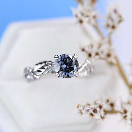 2 Carat Dark Gray Blue  Moissanite Twig  Engagement Ring